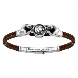 Silver leather bracelt with felines.