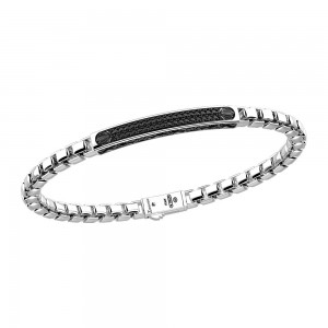 silver bracelet and black spinels