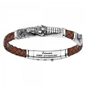 Silver leather bracelt with crocodile.