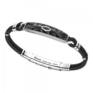 silver bracelet with black spinels and black kevlar