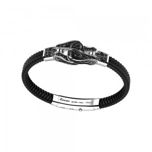 silver bracelet with black spinels and black silicon