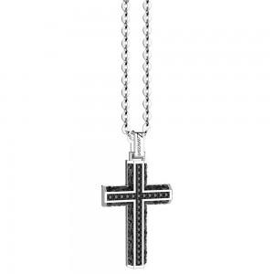Collana in argento con croce di spinelli neri in motivo gotico.