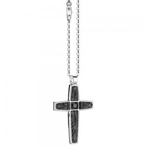 Collana in argento e spinello nero.