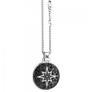 Collana in argento e spinelli neri con ciondolo gotico e stella