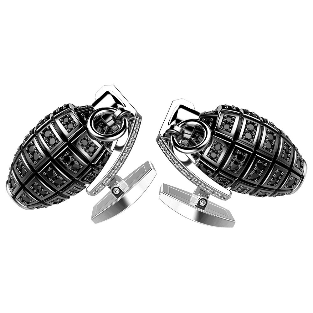 silver cufflinks with black spinels