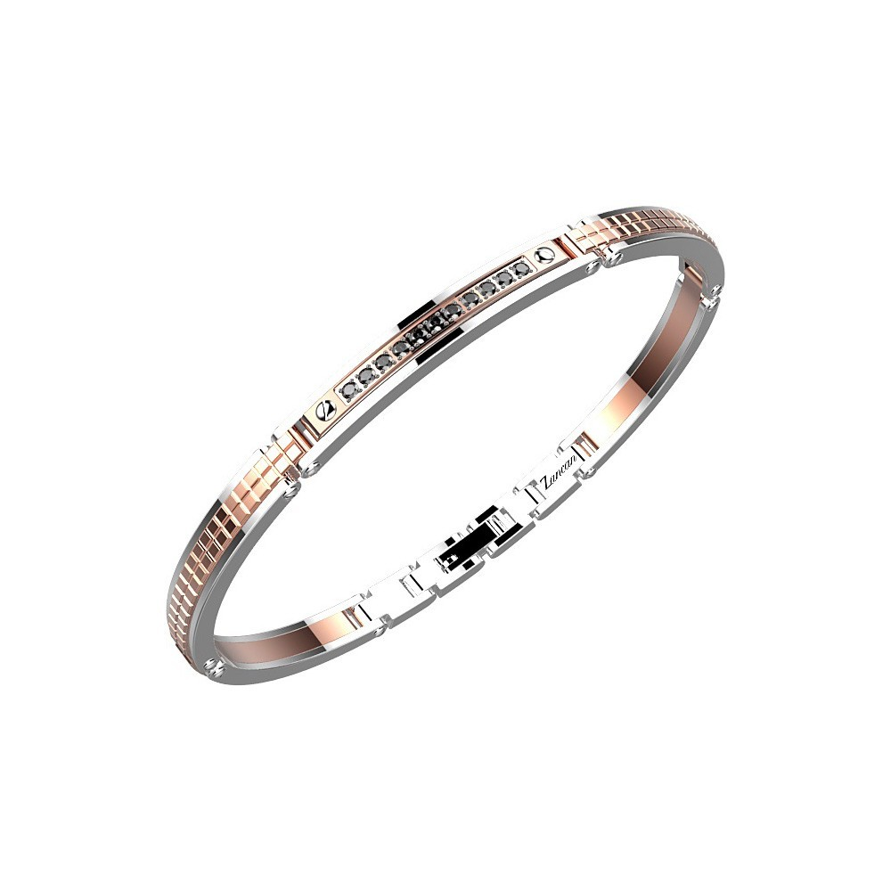 Bracelet in rose color stainless steel with black spinels.
