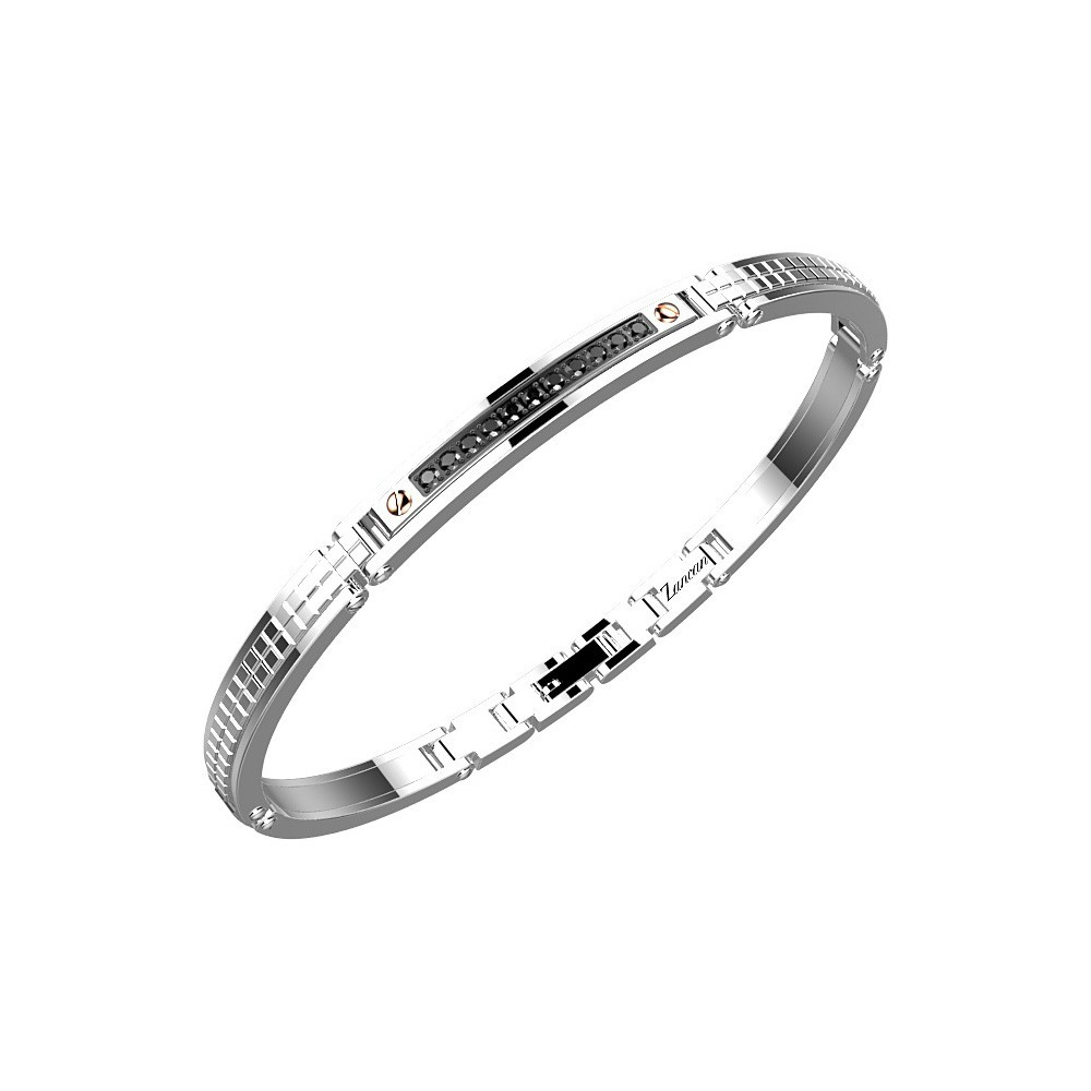 Bracelet in stainless steel with black spinels.