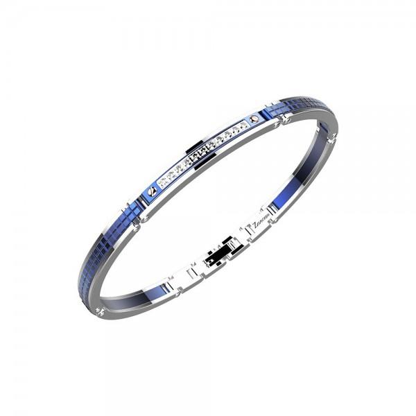 Bracciale in acciaio color blu con zaffiri bianchi.