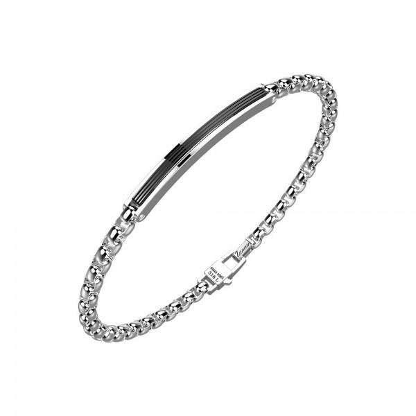 Bracciale in acciaio con catena e inserto nero su placca