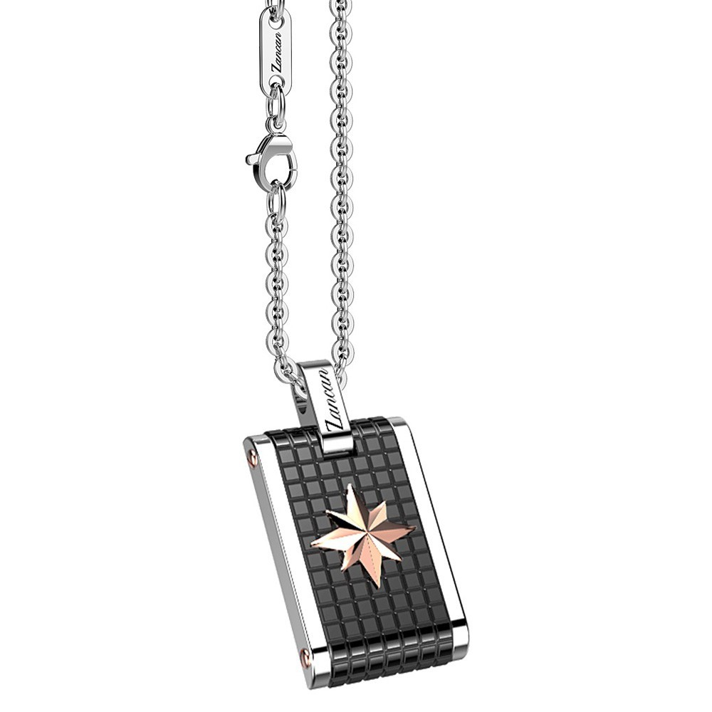 Stainless steel necklace with medal.