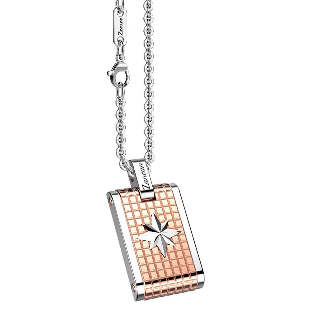 Stainless steel necklace with star on a medal.
