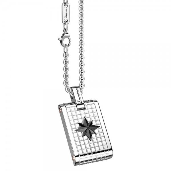 Collana con medaglia in acciaio con stella.