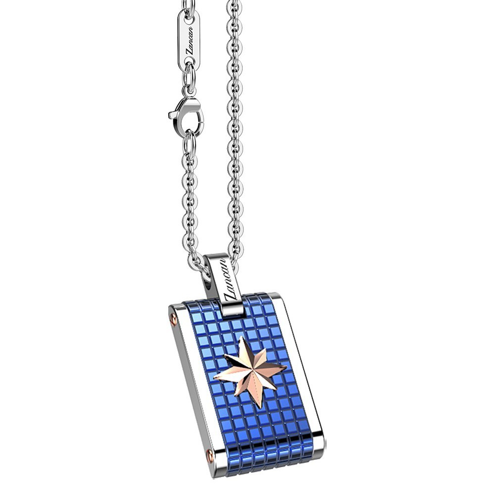 Stainless steel necklace with star on a blue medal.
