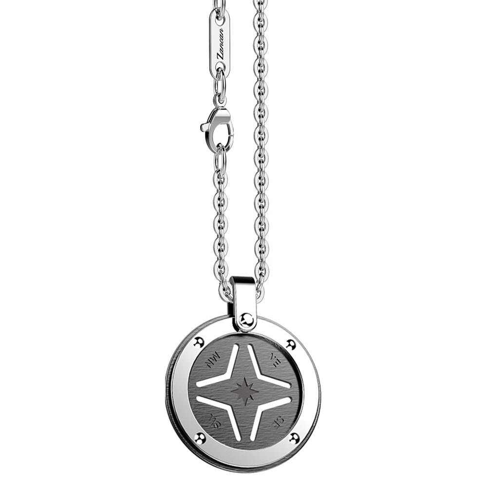 Stainless steel necklace with black round medal.