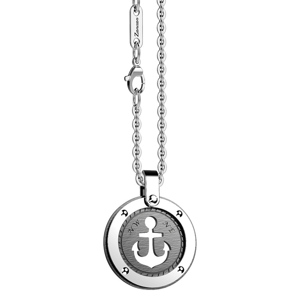 Stainless steel necklace with anchor on the round medal.