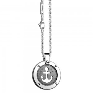 Stainless steel necklace with anchor on the black round medal.