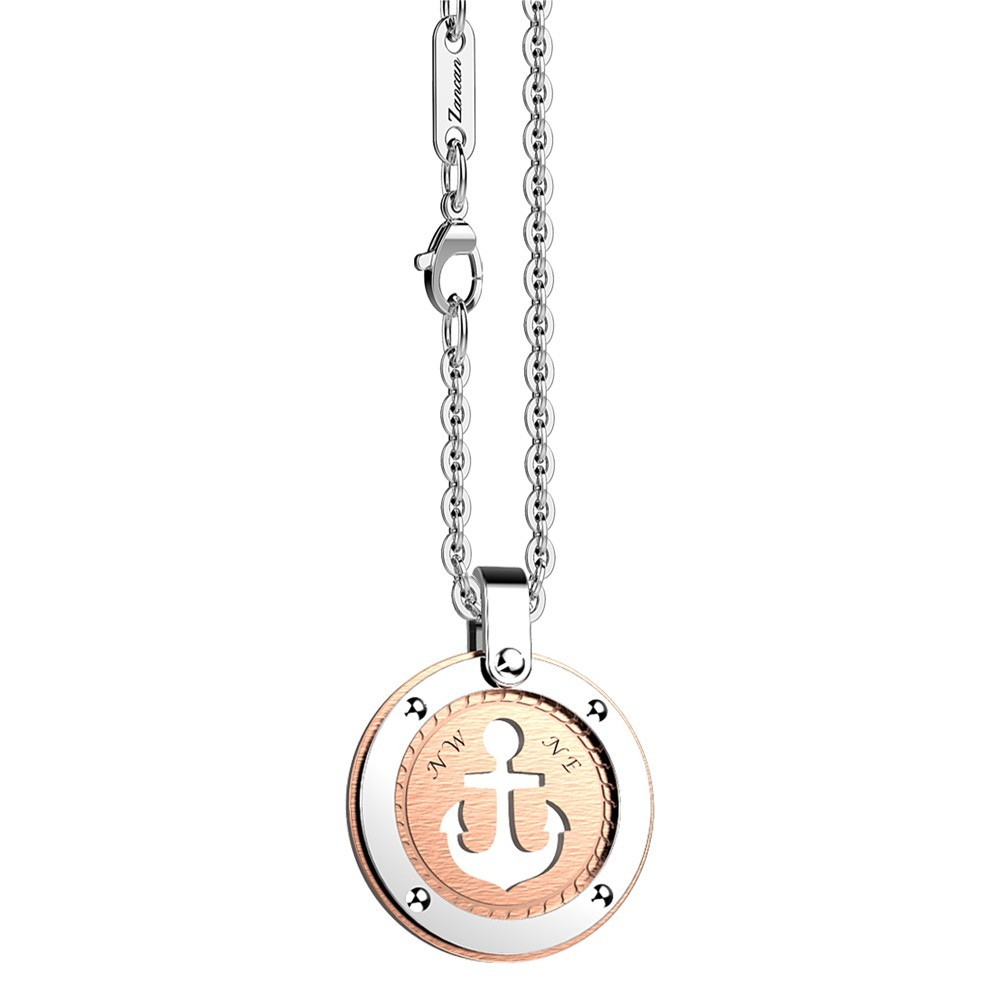 Stainless steel necklace with anchor on the rose round medal.
