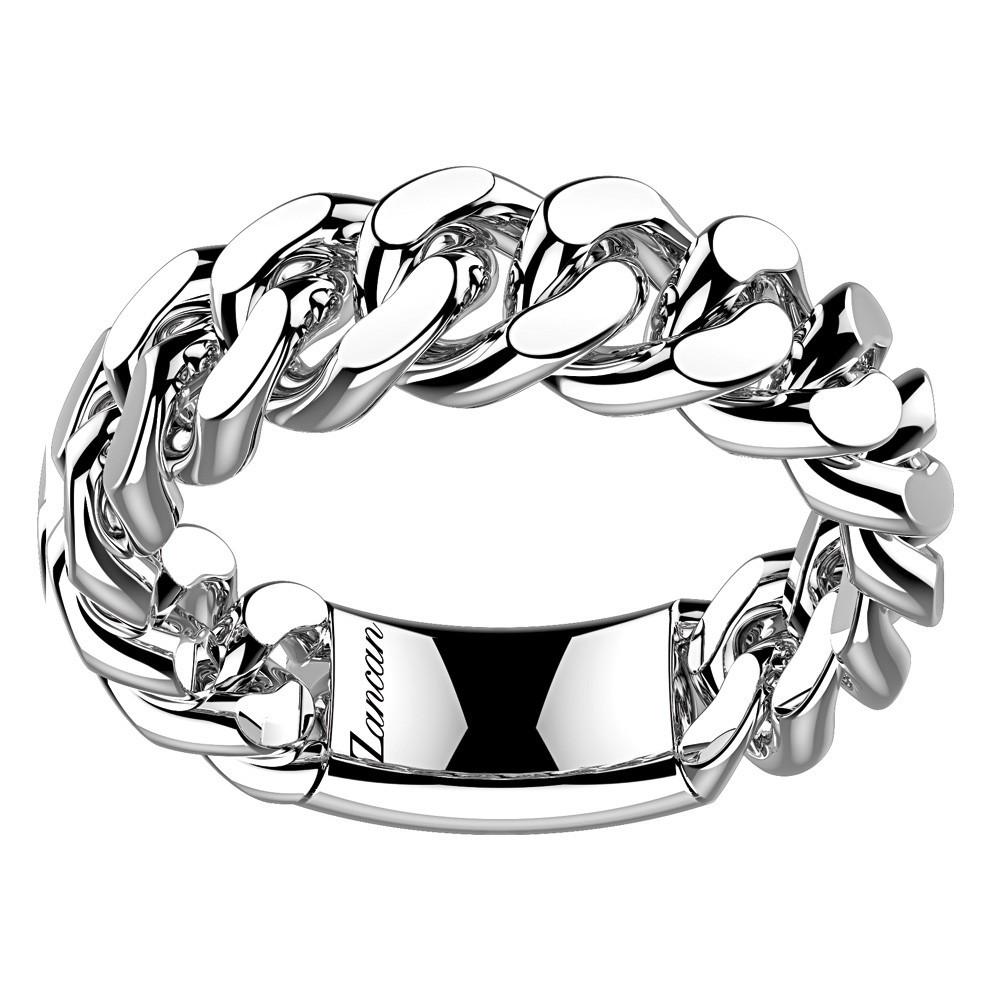 Medium chain silver ring