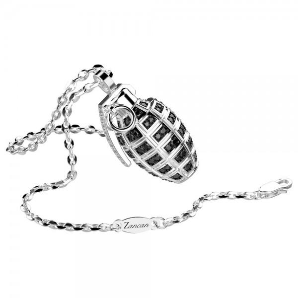 Collana con granata in argento e spinelli neri.