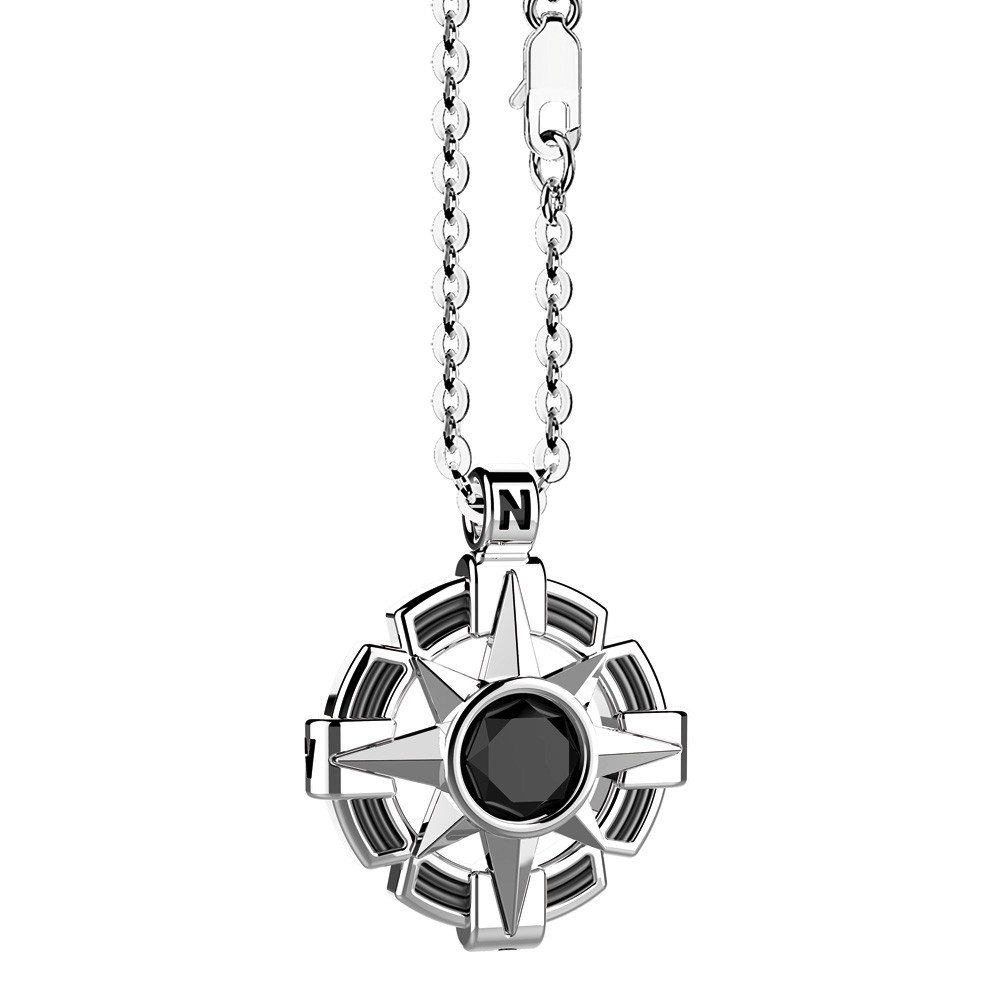 Silver Necklace with onyx stone on round pendant
