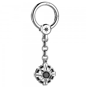 Silver keyholder with onyx