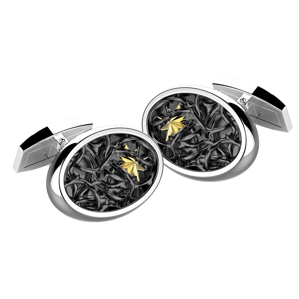 Silver round cufflinks.