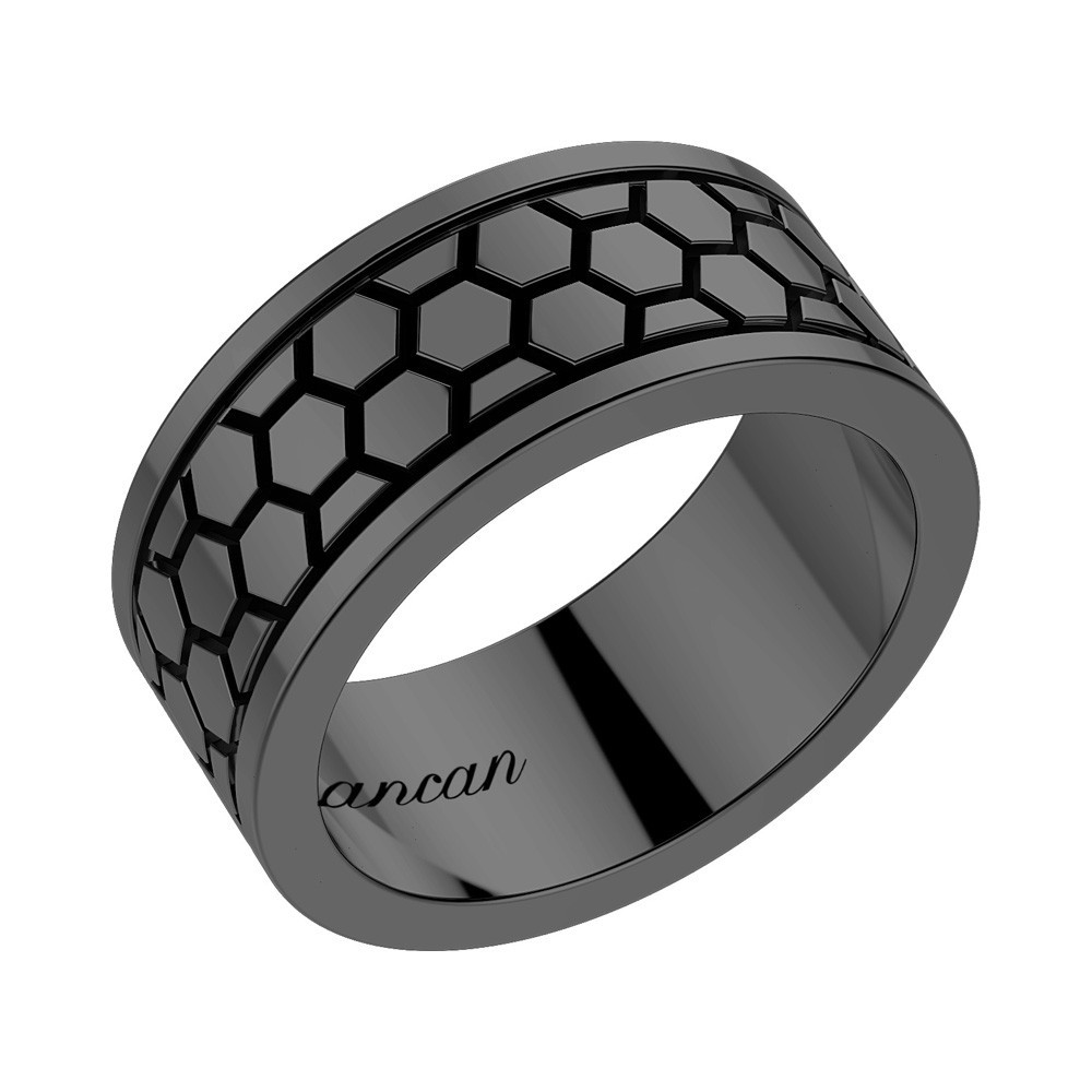 Black silver ring with decorations.