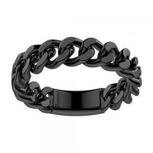 Black silver small grumette ring.