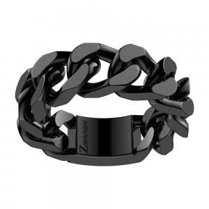 Black silver big grumette ring.