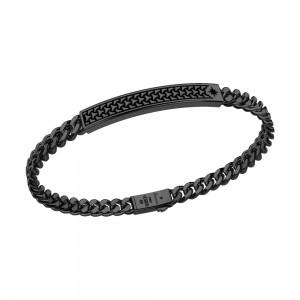 Black silver bracelet with plaque.