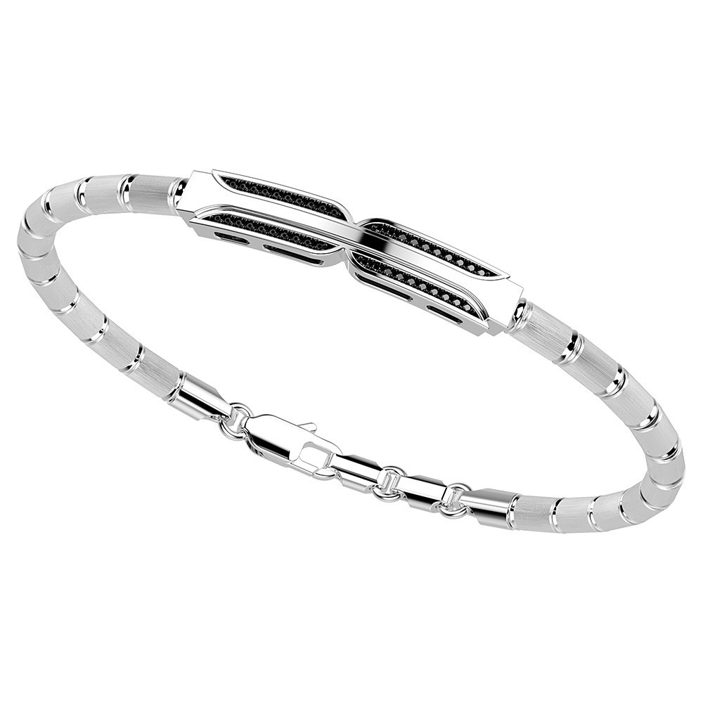 semi-rigid bracelet in silver and black spinels