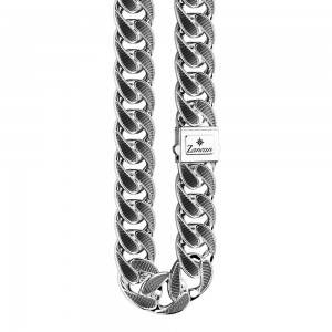 925 Silver wide chain necklace with burnished details.