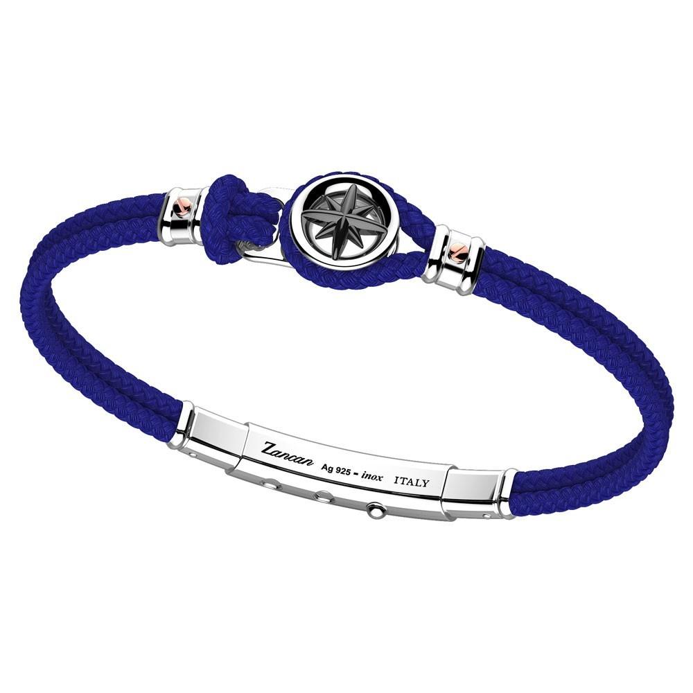 Kevlar, silver and rose gold bracelet with black wind rose