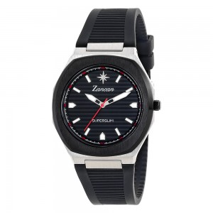 Men's time only watch with black dial.