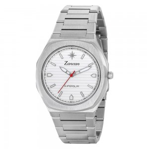 Men's time only watch with white dial.