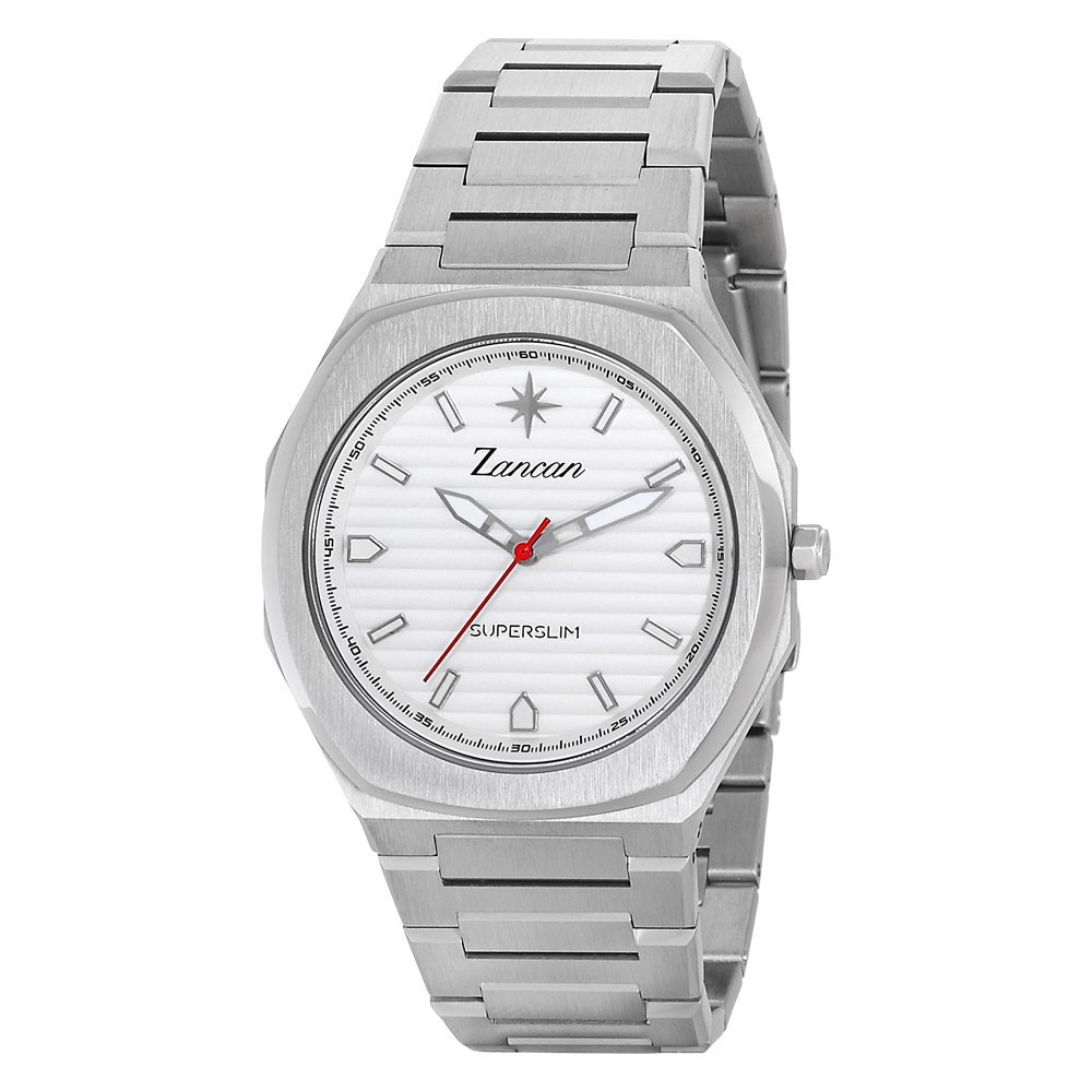 Superslim – Men's time only watch with white dial.