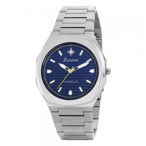 Men's time only watch with blue dial.