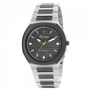 Men's time only watch with grey dial.