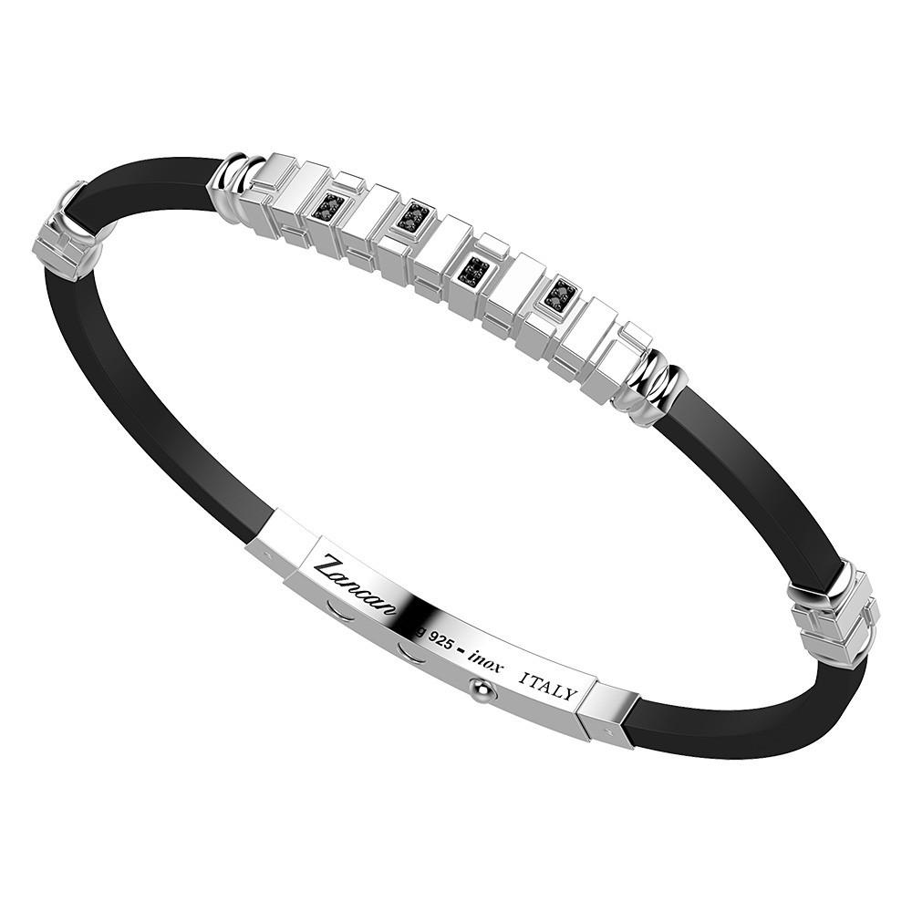 silver bracelet, black spinels and black silicone