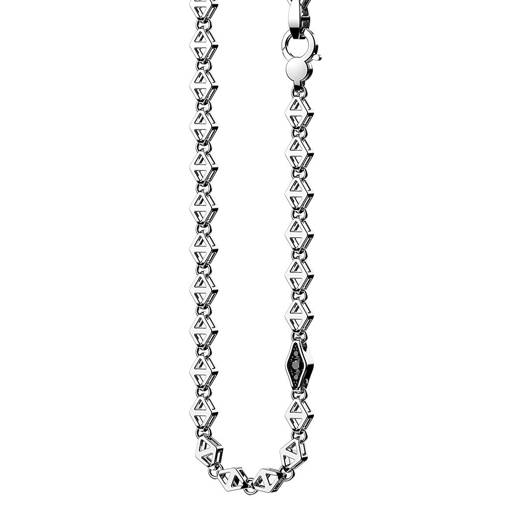 Silver necklace and black spinels