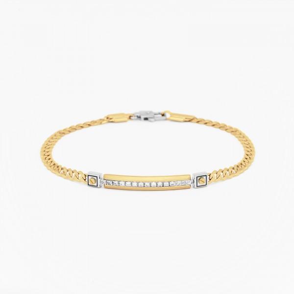 Bracciale da uomo in oro giallo con piastra centrale in diamanti bianchi.