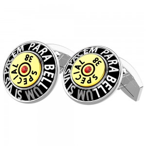 silver cufflinks with red spinels