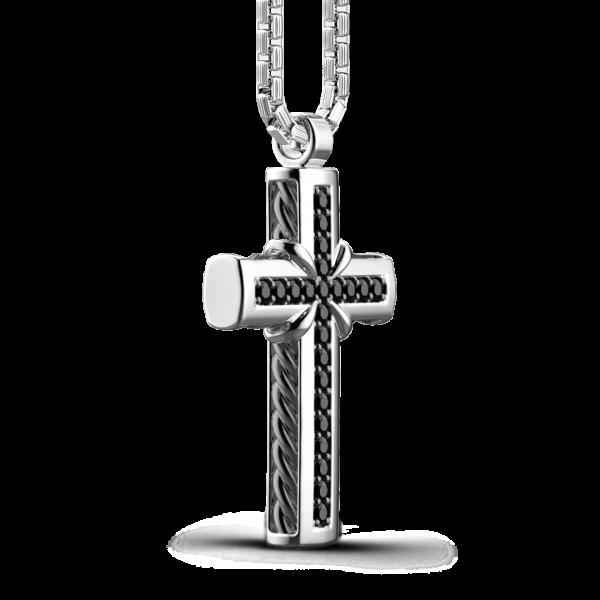 Collana Zancan in argento con pendente a croce e pietre nere.