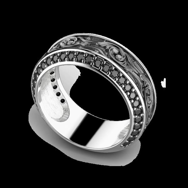 Anello Zancan in argento a fede con pietre nere.