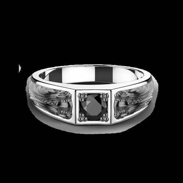 Anello Zancan in argento con pietra nera.