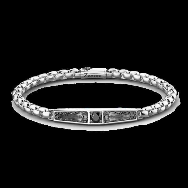Bracciale Zancan in argento con targa e pietra nera.