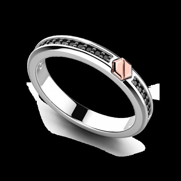 Anello Zancan a fede in argento con pietre e vite in oro rosa.