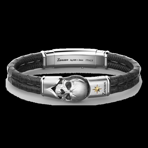 Bracciale Zancan in pelle con teschio in argento.