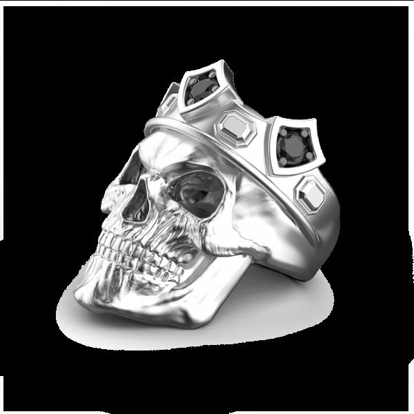Anello teschio re Zancan in argento con pietre nere.