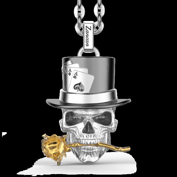 Collana Zancan in argento con pendente a teschio prestigiatore.
